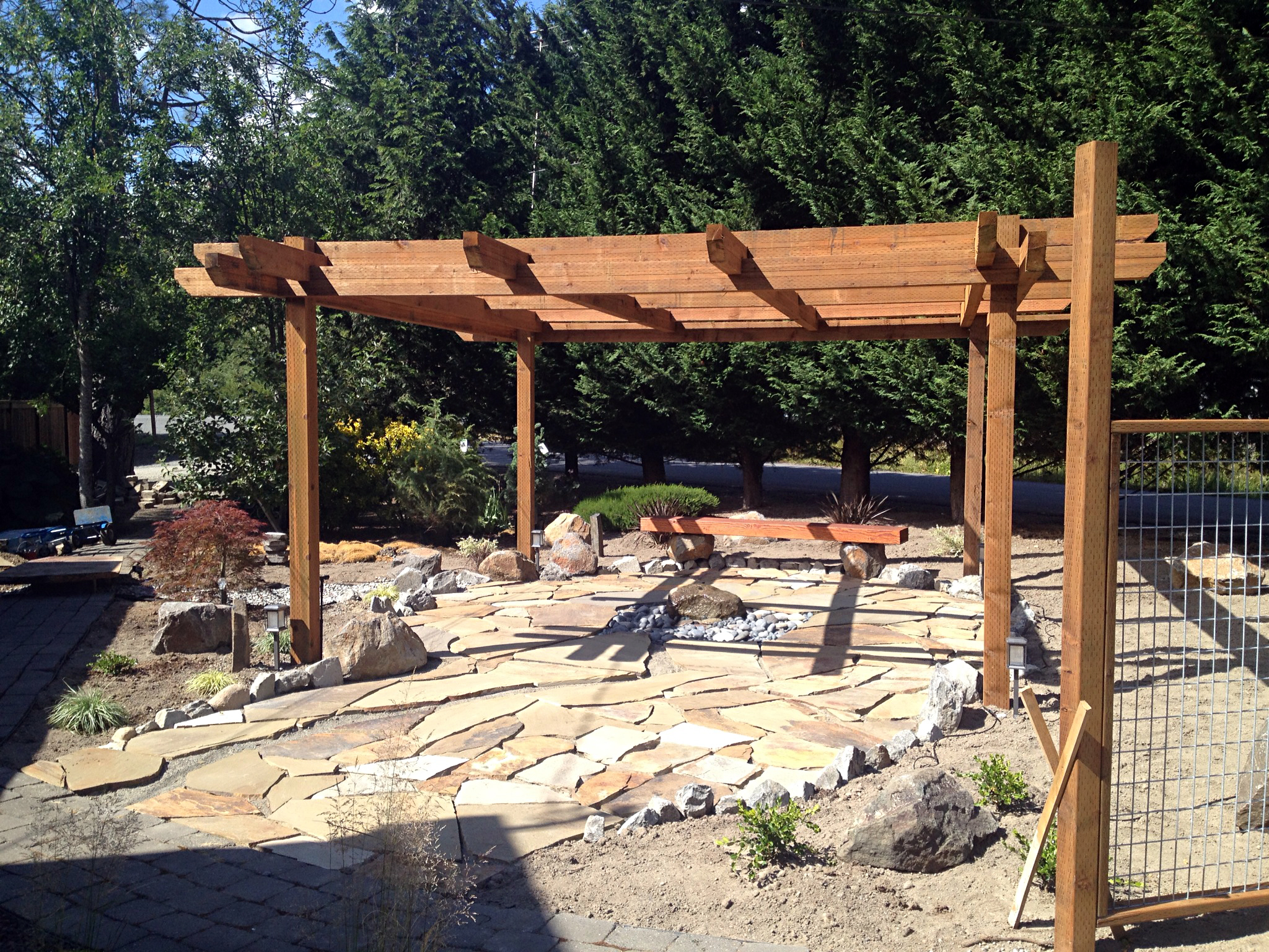 Persnickety pergola and stonework