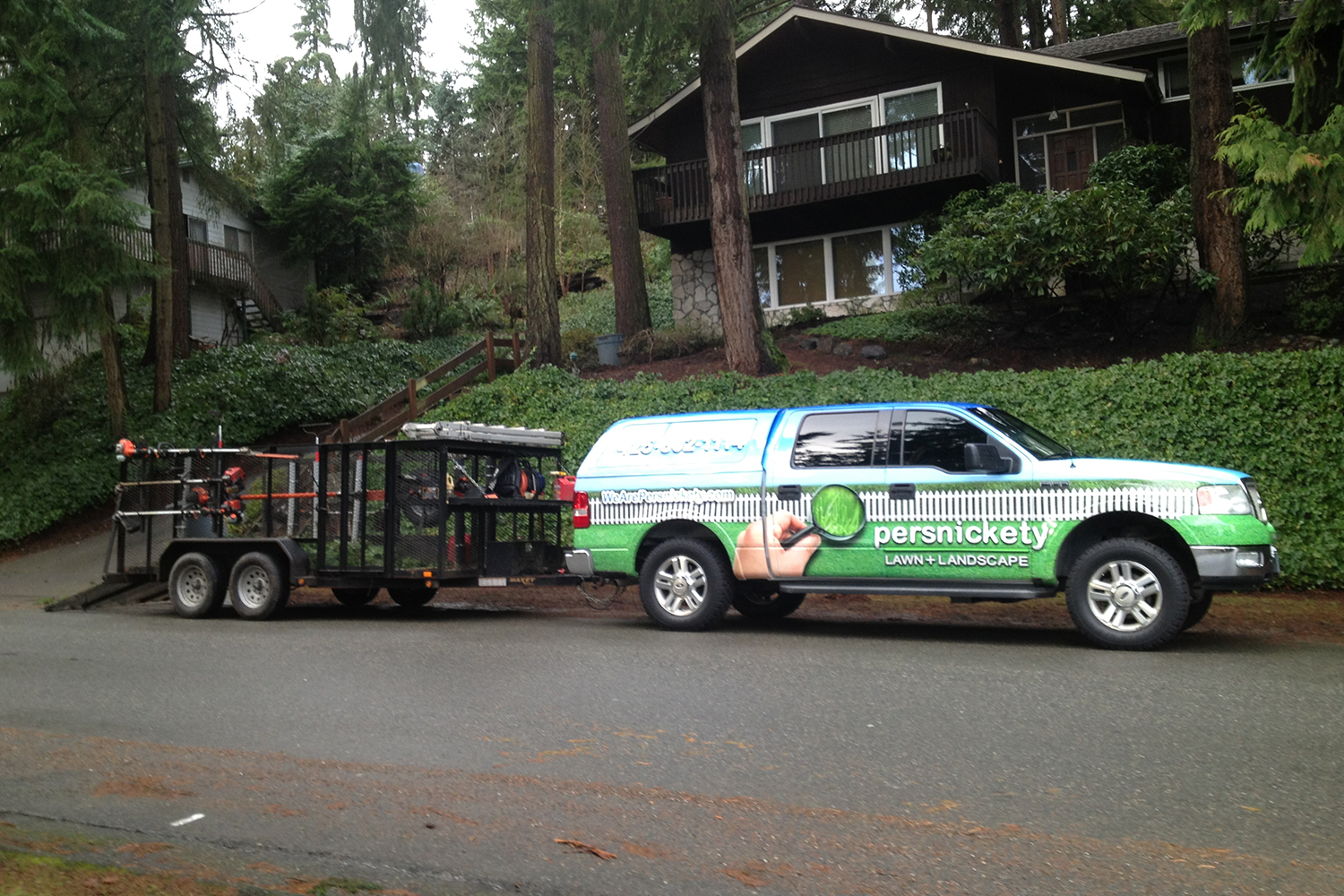 Persnickety lawn and landscape truck and trailer