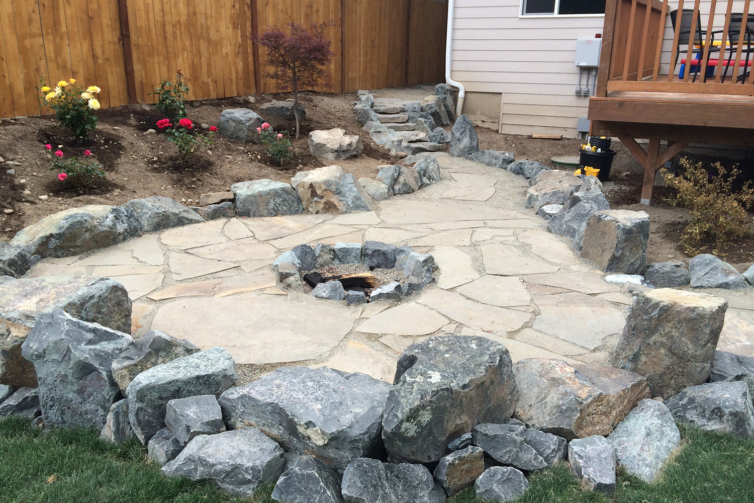 Persnickety stone paved fire pit